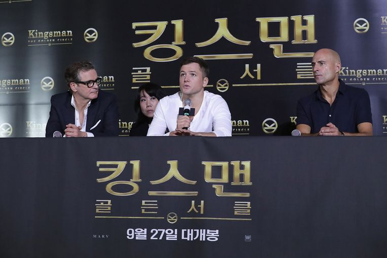 Acteurs Colin Firth, Taron Egerton en Mark Strong bij de persaankondiging van 'Kingsman: The Golden Circle' in Zuid-Korea. Beeld Getty Images
