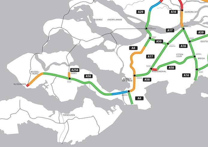 Een uitsnede van de wegenkaart maximumsnelheden Rijkswaterstaat. Groen betekent 130, oranje 120 en blauw 120 tussen 6.00 en 19.00 uur. Op de rode trajecten geldt een maximumsnelheid van 100 kilometer per uur. Uiterlijk 31 december kleurt ook het stuk A58 bij Rilland groen.
