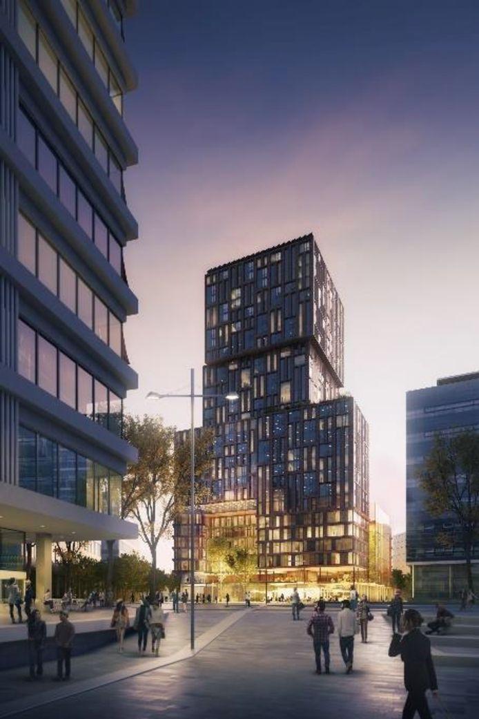 De Galaxy Tower aan het Jaarbeursplein / Croeselaan in Utrecht wordt straks een blikvanger in het stationsgebied.