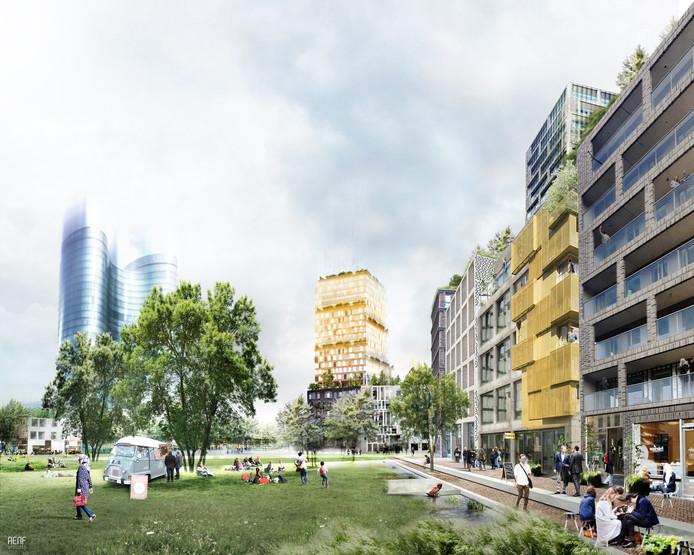 Nieuw te bouwen park aan de Croeselaan in het Beurskwartier.
