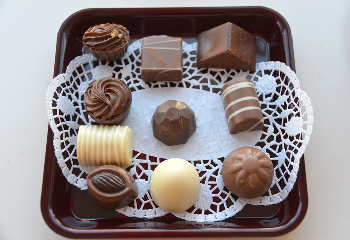In Nederland gemaakte Fair Trade bonbons van Barry Callebaut. Wissenkerkesnoepwinkel