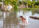 Een kind op Kiribati haalt water na een overstroming.