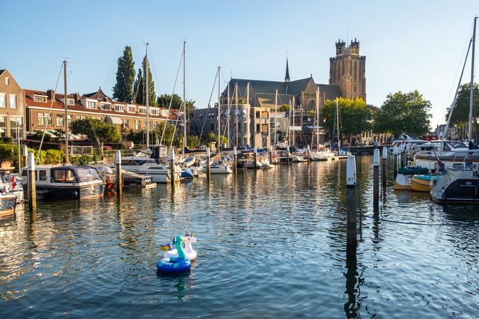 ab4abb6729b Twee kinderen met opblaasdieren trotseren de hitte in de Nieuwe Haven in  Dordrecht.