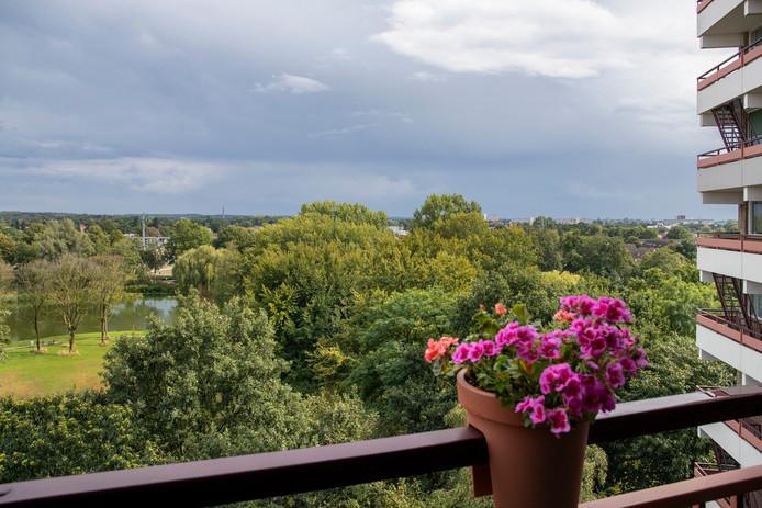 Uitzicht vanaf balkon vanaf de Valkesteinflat over het Proosdijpark in Ede.