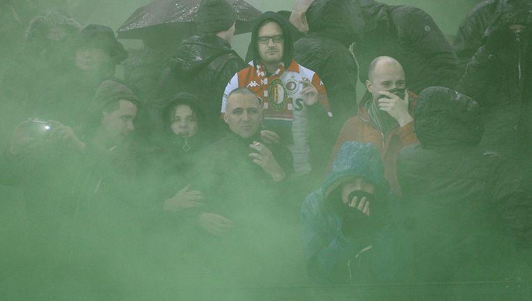 Feyenoordsupporters in het stadion. Beeld AFP / John Thys