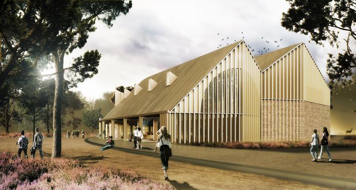 Een artist impression van het nieuwe publieksgebouw op De Hoge Veluwe dat op 21 juni officieel wordt geopend.