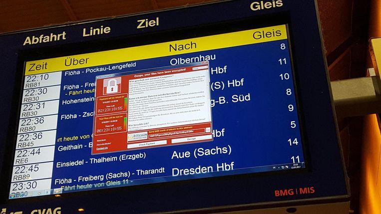 Ook Deutsche Bahn werd geraakt door WannaCry. Beeld afp
