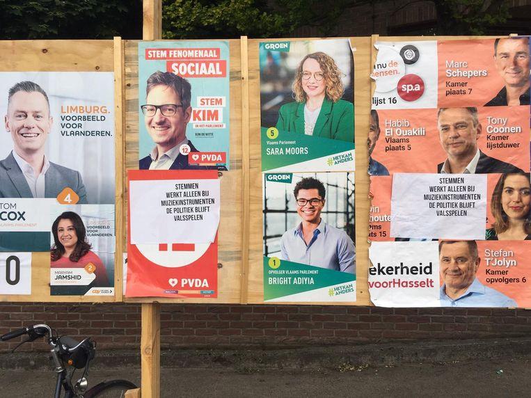 De protestplakker sloeg onder meer toe aan de Hasseltse stemlokalen
