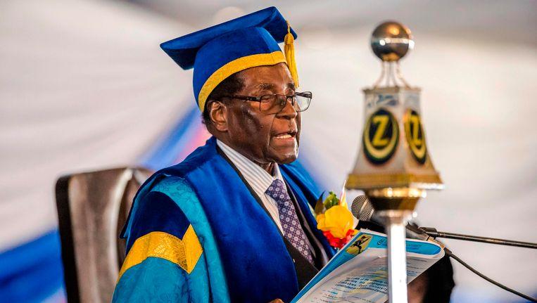 President Robert Mugabe afgelopen vrijdag. Beeld AFP