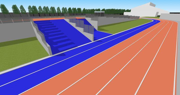 Dé primeur van de nieuwe atletiekpiste: de sprinthelling gaat vijftig meter omhoog. De helling wordt gecombineerd met een powerhill, een trappenstructuur.
