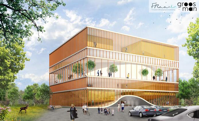 Een afbeelding van de bioscoop met tien zalen dat bij Kanters in Moerdijk moet komen. 'Het gaat om een voorlopig ontwerp', zegt Ferry Raedts van vastgoedontwikkelaar Fraa-i.