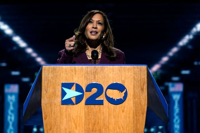 Senator en vicepresidentskandidaat van de Democratische Partij, Kamala Harris tijdens haar toespraak op de conventie.