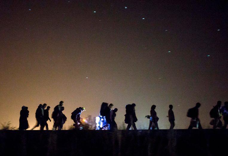 Vluchtelingen lopen naar een checkpoint nabij Röszke, Hongarije. Beeld epa