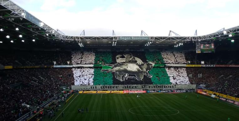 2015: de tifo voor aanvang van de derby Borussia Monchengladbach - FC Köln.  De bok 'Hennes', de mascotte van FC Köln, wordt op de schoot in bedwang gehouden en krijgt ei zo na klappen.