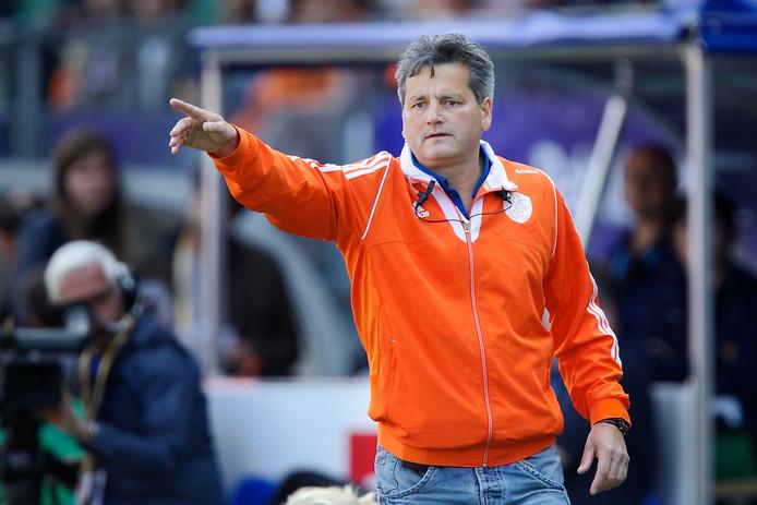 Paul van Ass als bondscoach van Nederland tijdens het WK van 2014 in Den Haag