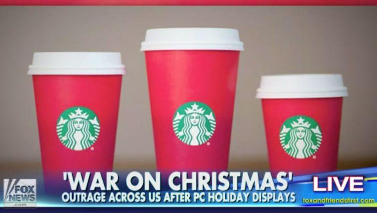 De conservatieve tv-zender Fox News pakte flink uit met de 'Starbucks-controverse'. Beeld Fox News