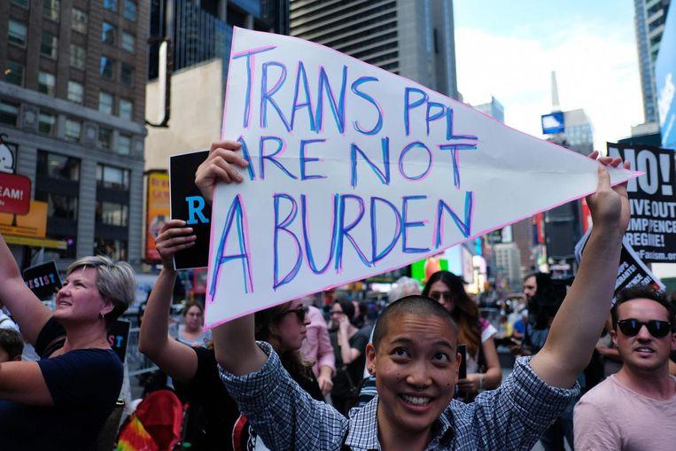 Betogers tegen het transgenderverbod van Trump in New York op 26 juli 2017.