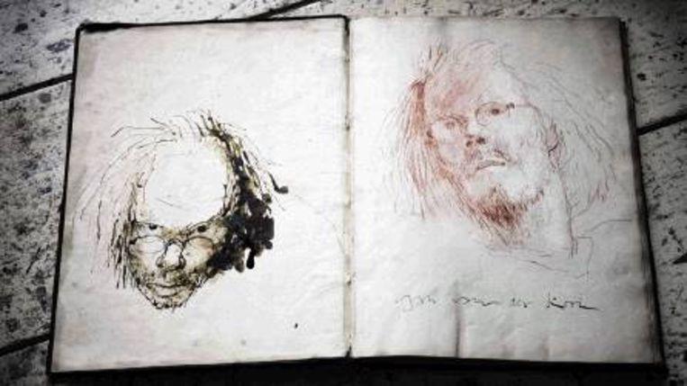 Twee zelfportretten, in gewassen inkt, gemaakt in het ¿konstboeck¿. (REYER BOXEM) Beeld