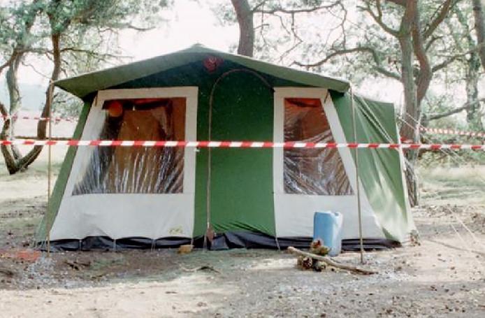 De tent waarin Nicky Verstappen in 1998 op camping De Heikop in Brunssum verbleef.