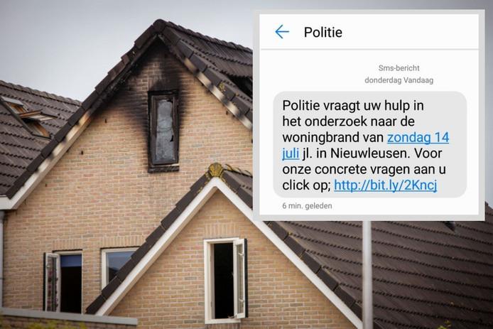 Bij een brand aan het Zwartewaterland in Nieuwleusen kwam een man van 22 om het leven. Inzet: De eerste SMS van de politie.
