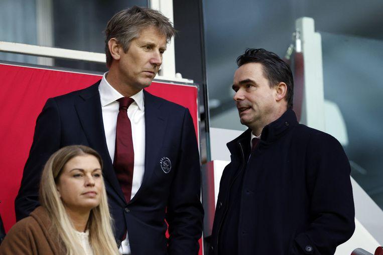 Edwin van der Sar en Marc Overmars. Beeld Hollandse Hoogte /  ANP Sport