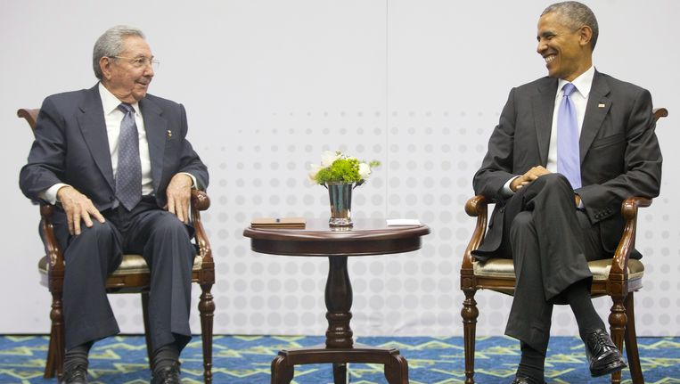 De Cubaanse president Raul Castro en de Amerikaanse president Barack Obama. Beeld AP