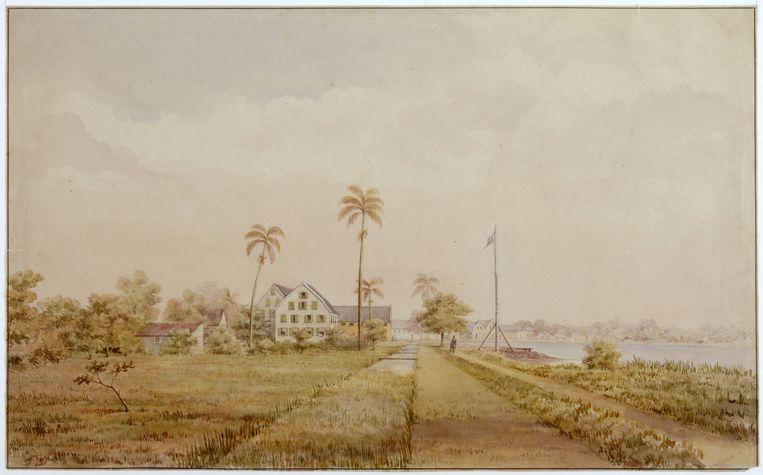 De plantages Nijd en Spijt en Alkmaar aan de rivier Commewijne in het noorden van Suriname, ca. 1860. Beeld Hollandse Hoogte / Koninklijk Instituut voor de Tropen