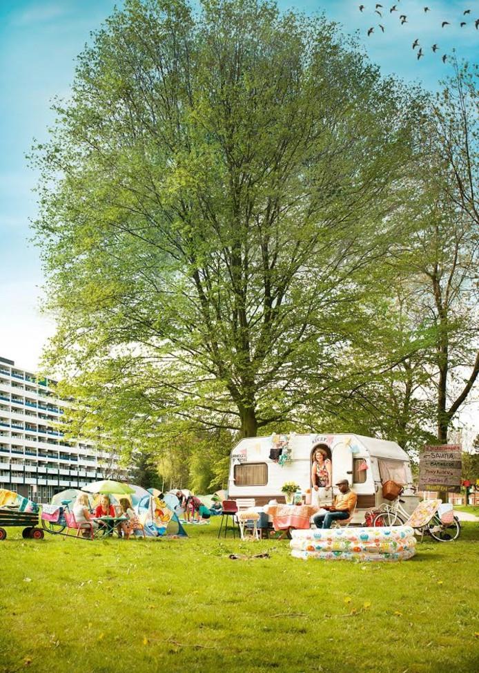 De Buurtcamping moet Tilburgers met elkaar in contact brengen. Organisatie Stichting Stadscamping benadrukt dat het voor iedereen is.