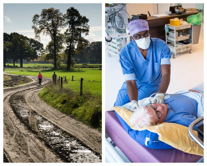Links: wandelen in Twente is steeds populairder, zoals hier op de Deldense Es. Rechts: Het OCON staat klaar om de regionale ziekenhuizen uit de brand te helpen bij coronadrukte.
