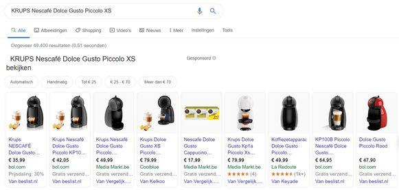 Prijzen vergelijken via Google.