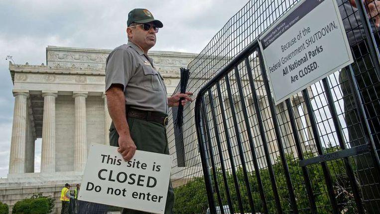 Het Lincoln-monument in Washington wordt gesloten als gevolg van de shutdown Beeld afp