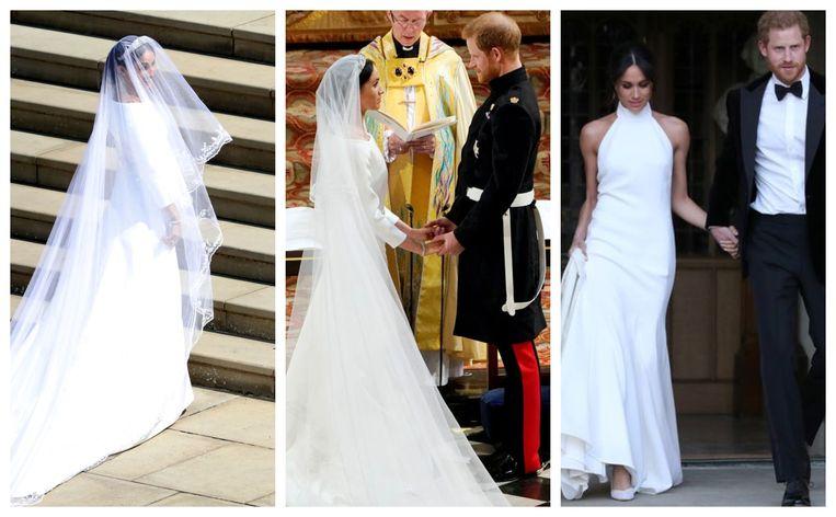 De trouwjurk van Givenchi en het avondkleed (rechts) van ontwerpster Stella McCartney