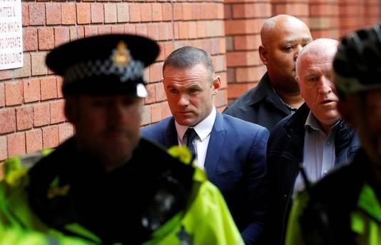 Wayne Rooney arriveert in 2017 bij de Stockport Magistrates' & County Court voor zijn proces van het rijden onder invloed.