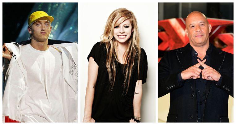 Vlnr: Eminem, Avril Lavigne en Vin Diesel