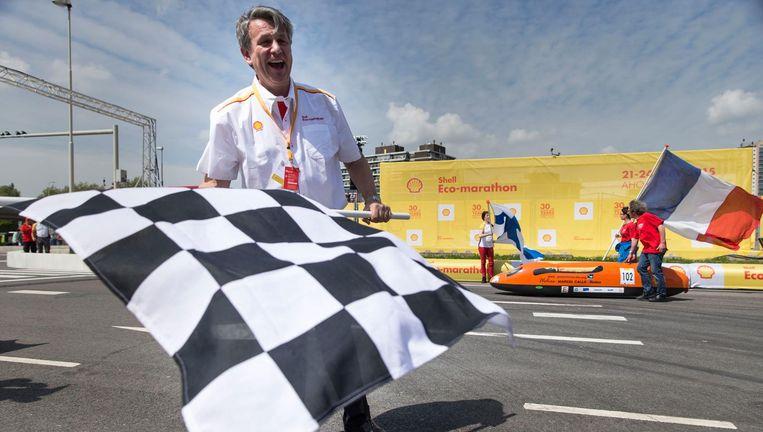 Ben van Beurden bij de Shell Eco-marathon 2015 in Rotterdam. Beeld ANP