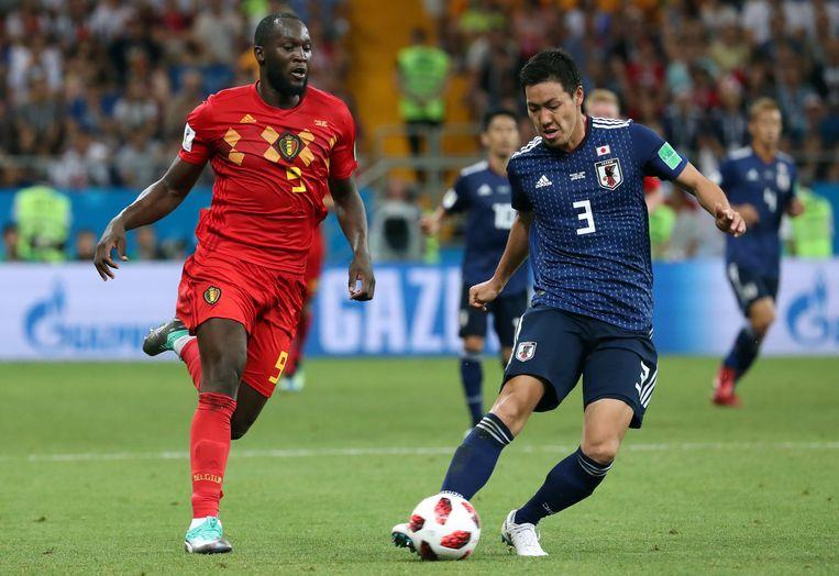 Shoji in duel met Romelu Lukaku op het WK in Rusland.
