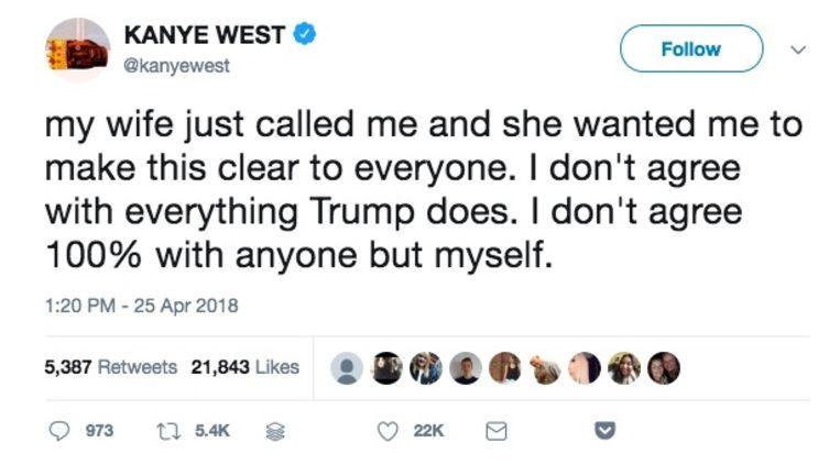 Een van Kanye Wests tweets over president Donald Trump.  Beeld