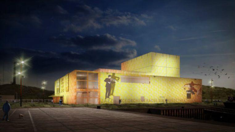 Op het Scheveningse Zuiderstrand wordt dit theater gebouwd. Beeld Gemeente Den Haag
