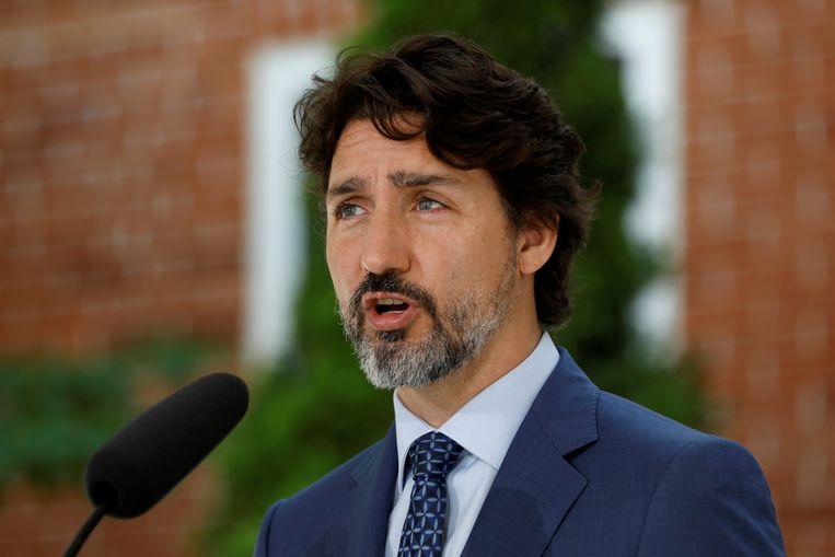 De Canadese premier Justin Trudeau tijdens een persconferentie bij zijn ambtswoning in Ottawa, Canada. (22/06/2020)
