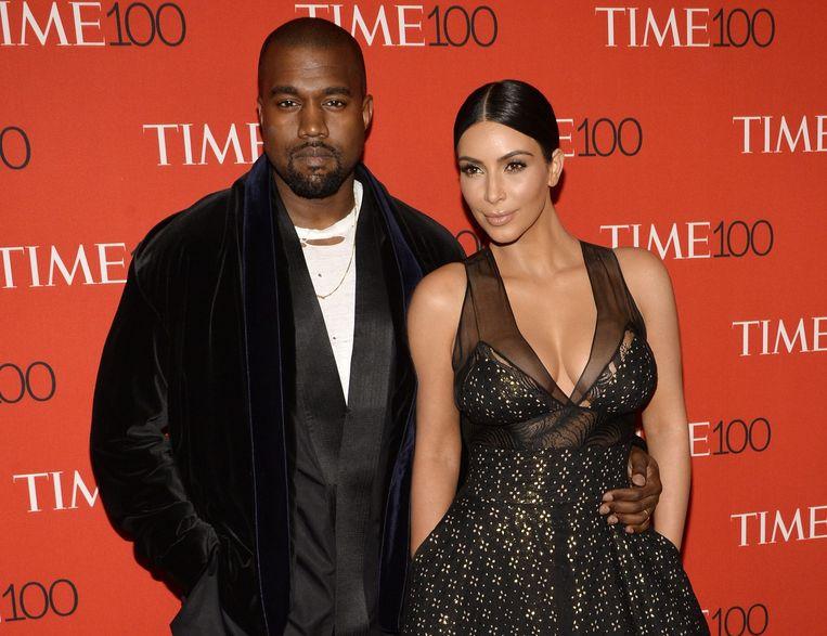 Kanye met zijn vrouw, Kim Kardashian. Beeld anp