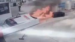 Auto vertrekt met benzinespuit in tank. Dan schiet alles in brand