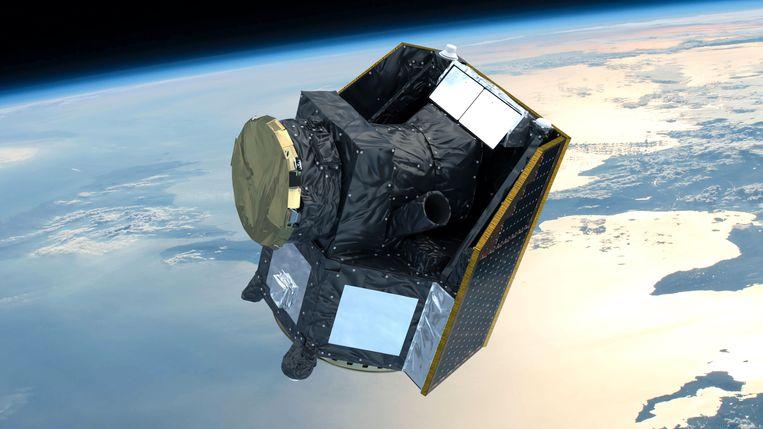 Tekening van ruimtesonde Cheops in haar baan on de aarde. Beeld ESA