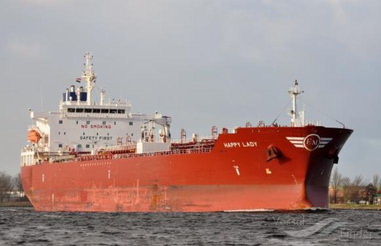 De olietanker 'Happy Lady' werd bestormd voor de kust van Kameroen.