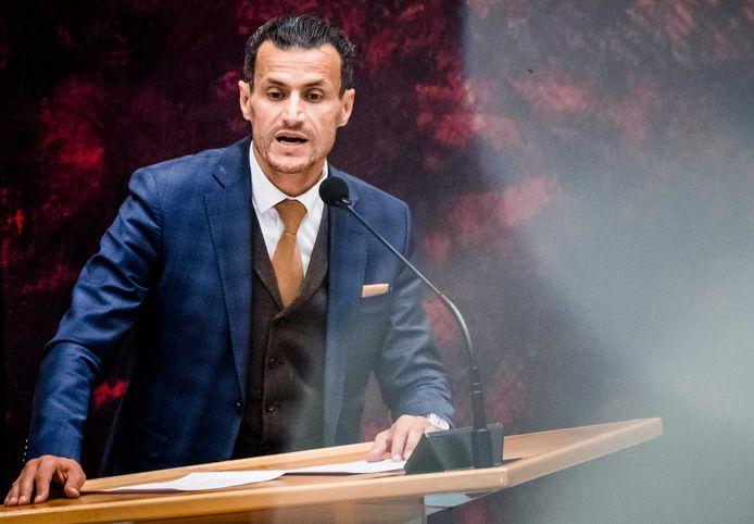 Farid Azarkan (fractieleider Denk) tijdens een debat in de Tweede Kamer