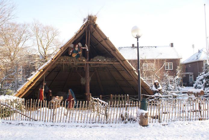 Kerststal Heeze in de sneeuw