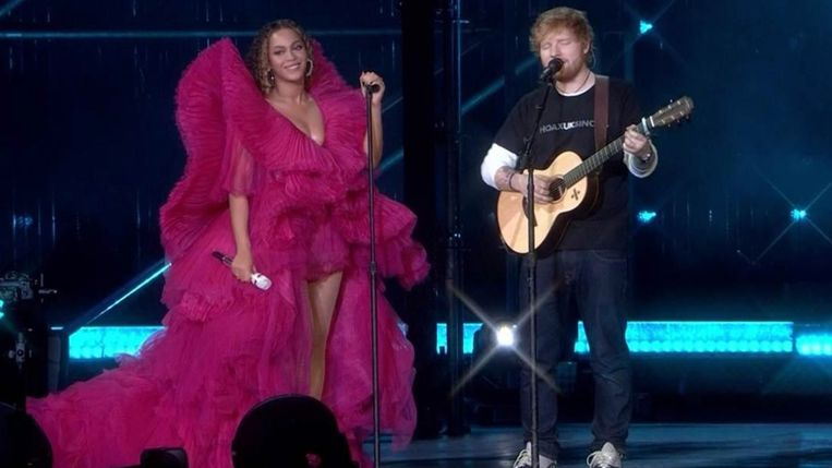 Beyoncé en Ed Sheeran kozen wel héél verschillende outfits.