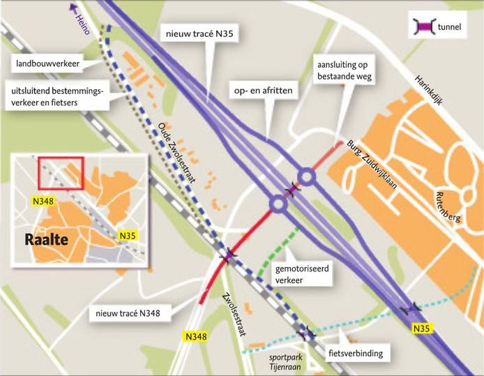 Aangepast ontwerp voor kruispunt Bos in Raalte, waar N348 en N35 elkaar kruisen, dd 7 oktober 2016.