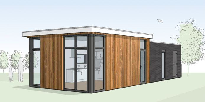 De 'tiny houses' zoals die aan 't Haartse Bos gebouwd kunnen worden.