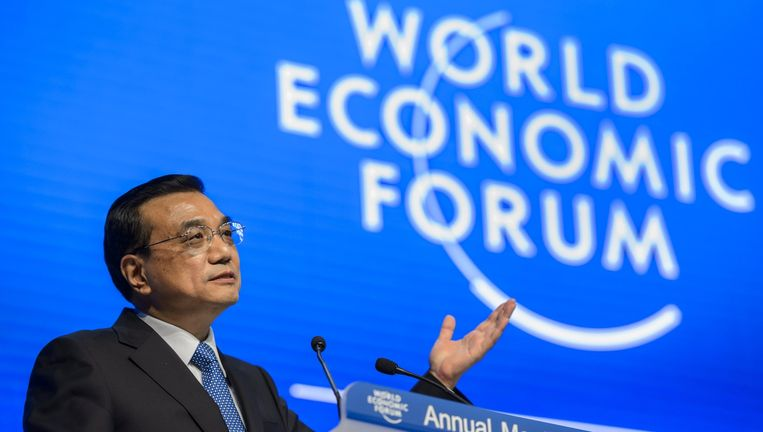 Chinese premier Li Keqiang bij het World Economic Forum, 21 januari 2015 Beeld afp