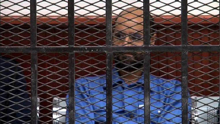 Seif al-Islam Kaddafi, toen hij begin mei dit jaar in de rechtbank moest verschijnen. Beeld epa